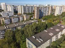 Residential buildings of different heights in old district in Moscow, Russia. Residential buildings of different heights in the old district in Moscow, Russia stock photo