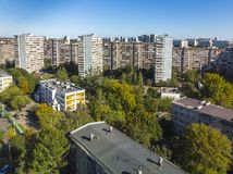 Residential buildings of different heights in old district in Moscow, Russia. Residential buildings of different heights in the old district in Moscow, Russia royalty free stock photo