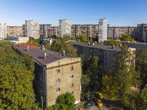 Residential buildings of different heights in old district in Moscow, Russia. Residential buildings of different heights in the old district in Moscow, Russia stock photography