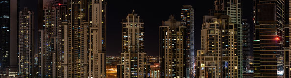Residential buildings in Dubai at night Royalty Free Stock Photo