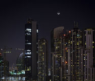 Residential buildings in Dubai at night Stock Photos