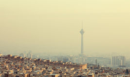 Residential Buildings in Front of Milad Tower in Skyline of Tehran Royalty Free Stock Images