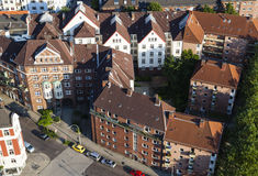 Residential buildings from high angle, Hamburg. High angle view of a residential district in Hamburg, Germany Royalty Free Stock Photos
