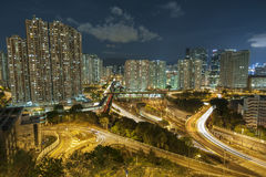 Residential buildings and highway royalty free stock images