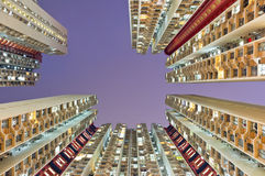 Residential buildings in hong kong from low angle Royalty Free Stock Images