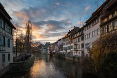 River Ill and houses in the district of La Petite France in Strasbourg royalty free stock photos