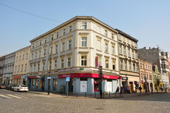 Residential buildings on the intersection of Boleslawa Chrobrego and Mieszka I streets in Gniezno, Poland Stock Photos