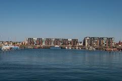 Korsoer harbor in Denmark. Residential buildings in Korsoer harbor in Denmark stock photos