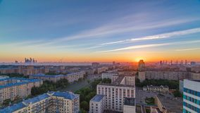 Residential buildings, Stalin skyscrapers and panorama of city at sunrise timelapse in Moscow, Russia. Residential buildings on Leninskiy avenue, Stalin stock footage