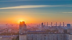 Residential buildings, Stalin skyscrapers and panorama of city at sunrise timelapse in Moscow, Russia. Residential buildings on Leninskiy avenue, Stalin stock video