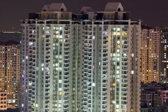 Residential buildings by night Royalty Free Stock Images
