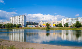 Residential buildings over a lake Royalty Free Stock Photography