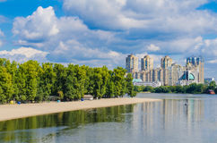 Residential buildings over a river Stock Photos