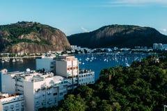 Residential buildings overlooking Botafogo Bay, Rio de Janeiro, Brazil.  stock photo