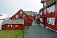 Residential buildings at the port of Torshavn Stock Photos