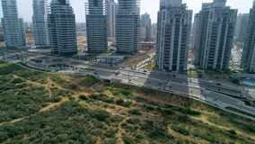 Residential buildings push in shot aerial stock footage