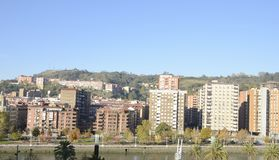 Residential buildings at the riverbanks Royalty Free Stock Photo