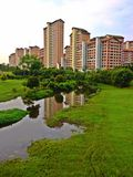 Residential buildings at the riverside Stock Photo