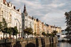 Residential buildings on riverside of Vltava River in Prague. Prague,  Czech Republic - August 19, 2017: Residential buildings on riverside of Vltava River in Royalty Free Stock Photography
