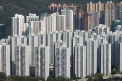 Residential buildings at Shatin New Territories Hong Kong. The buildings in the picture featuring City One Shatin and nearby buildings stock photography