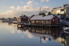 Residential buildings in Svolvaer Royalty Free Stock Images