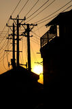 Residential buildings and telegraph poles in silhouette, Suzhou, Stock Photos