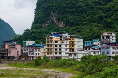 Residential buildings of the tourist city of Yangshuo stock photo