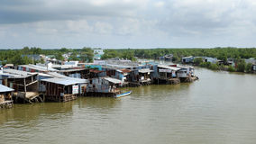 Residential among Ca Mau mangrove forest. CA MAU, VIET NAM- JULY 16, 2016:  Waterway at Mekong Delta, life on Nam Can river, poor residential with house make Stock Image