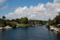 Residential Canal in Miami Stock Photo