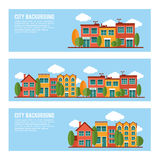 Residential city houses backgrounds banner set Royalty Free Stock Image