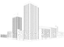 Residential city wireframe building Stock Photos