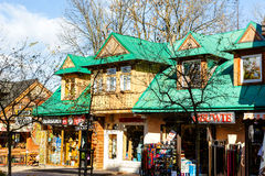 Residential and commercial building in Zakopane Stock Image