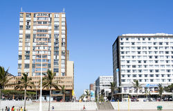 Residential and Commercial Buildings on Beachfront in Durban Sou Stock Photos