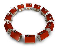 Residential Community. And real estate circle neighborhood with homes and houses lined up in a circular blank frame shape representing a close knit family in a Stock Photo