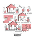 Residential Community. village road mapping. Royalty Free Stock Photos