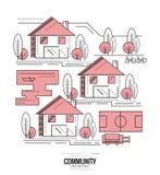 Residential Community. village road mapping. Thin line flat design. vector illustration royalty free illustration