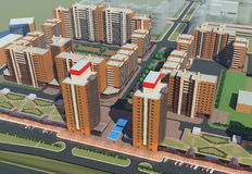 Residential complex (3d rendering) Stock Image