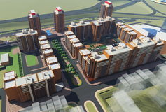 Residential complex (3d rendering) Stock Images