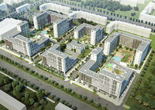 Residential complex. New building. Residential complex. Planting of greenery. 3D render Royalty Free Stock Photos