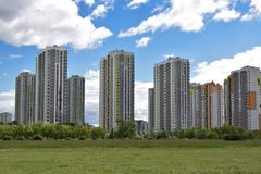 Residential complex in the residential area of the city royalty free stock images