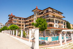 Residential complex with a swimming pool in the village of Ravda in Bulgaria. Ravda - ancient Bulgarian seaside town famous discoveries of ancient Slavic royalty free stock image
