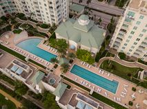 Residential condo pool deck condominium Stock Photography
