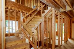 Residential home framing view on new house wooden under construction. Residential construction home framing view on new house wooden under construction royalty free stock photos