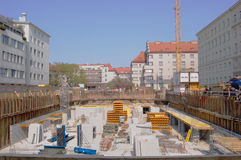Residential construction site. Construction site in the residential area of Vienna with newly reconstructed surrounding buildings from the early 20. century Stock Photos