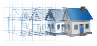 Residential Development. Construction design and planning concept as a preliminary blueprint drawing sketch evolving to a finished built home as a housing Stock Photo