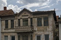 A residential district of ancient macedonian houses in town Delchevo, Macedonia stock photos