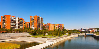 Residential district on the banks of  Manzanares river Royalty Free Stock Image