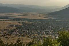 Residential district of bulgarian houses in Karlovo valley between Central Balkan mountain, Beklemeto or Trojan pass and Sredna g. Ora mountain, Bulgaria stock photos