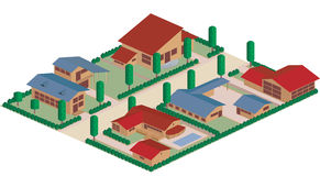 Residential district cartoon. Cartoon map of a residential district area Stock Images