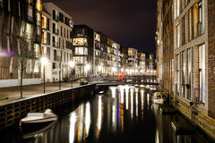 Residential district. With channels and boat parkings in Copenhagen Stock Image